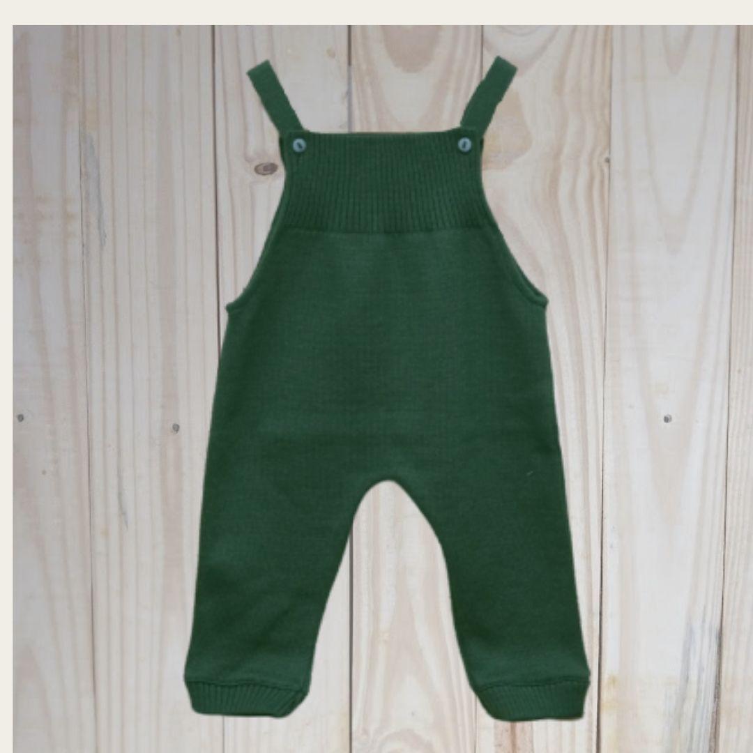 Jardineira para Bebê em Tricot  Toreiro sem  Pé Verde