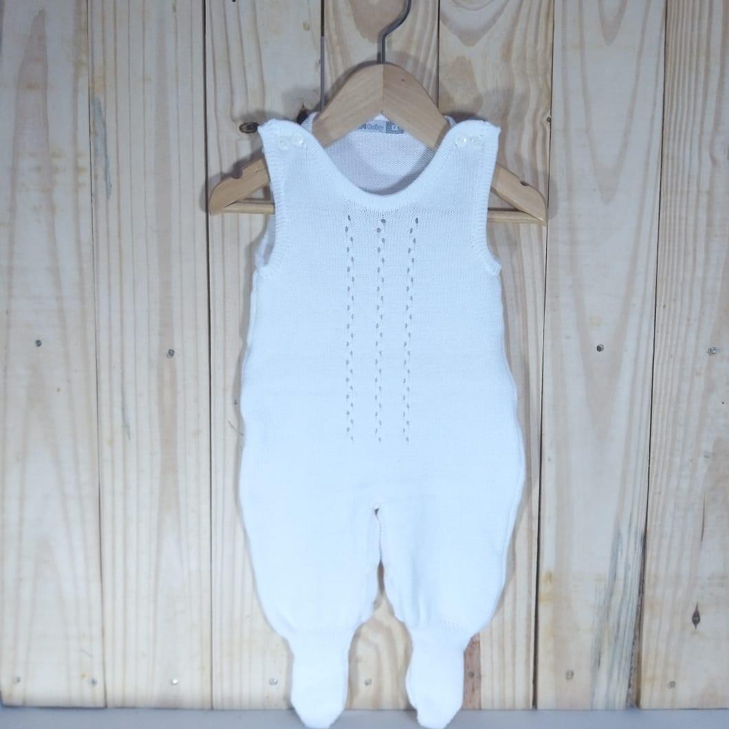 Jardineira para Bebê em Tricot lisa com Detalhes Branco