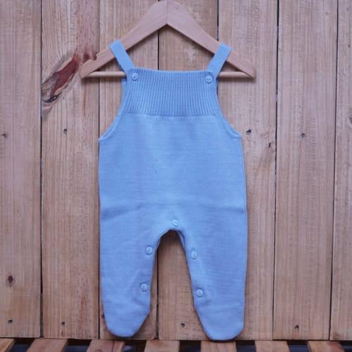 Jardineira para Bebê em Tricot Toreiro Azul Claro