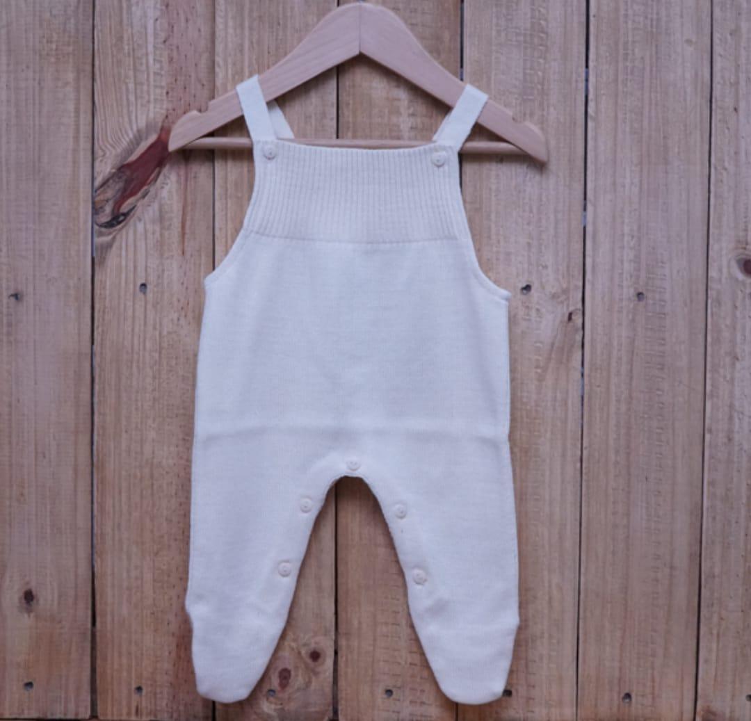 Jardineira para Bebê em Tricot Toreiro Off White