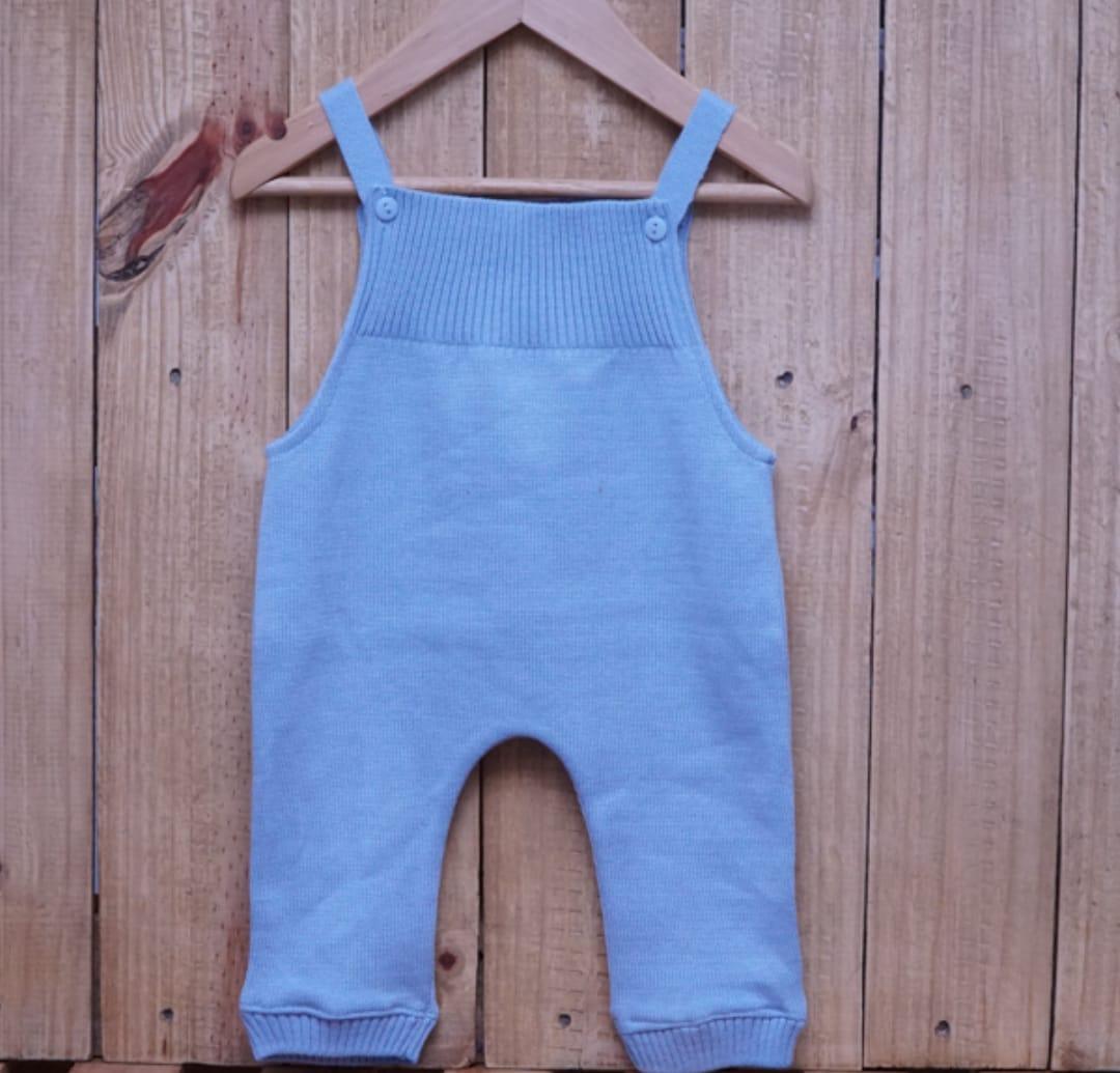 Jardineira para Bebê em Tricot Toreiro sem Pé Azul