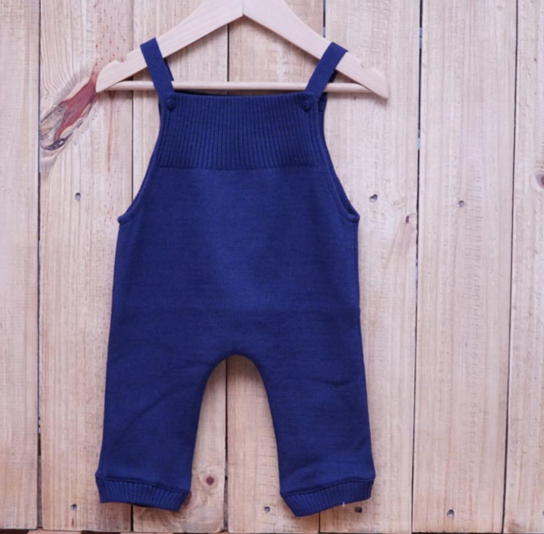 Jardineira para Bebê em Tricot Toreiro sem Pé Marinho
