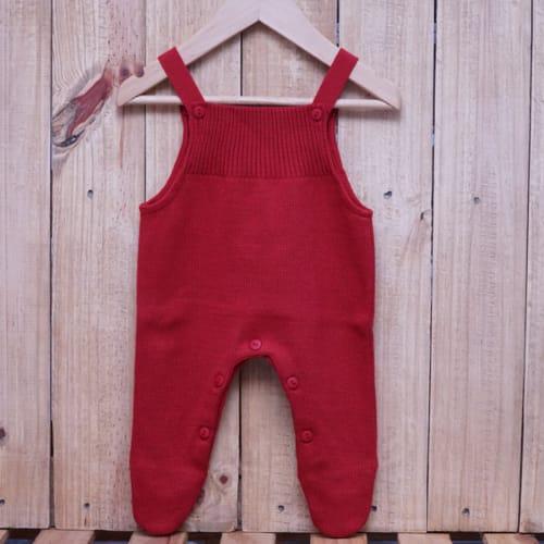 Jardineira para Bebê em Tricot  Toreiro Vermelho
