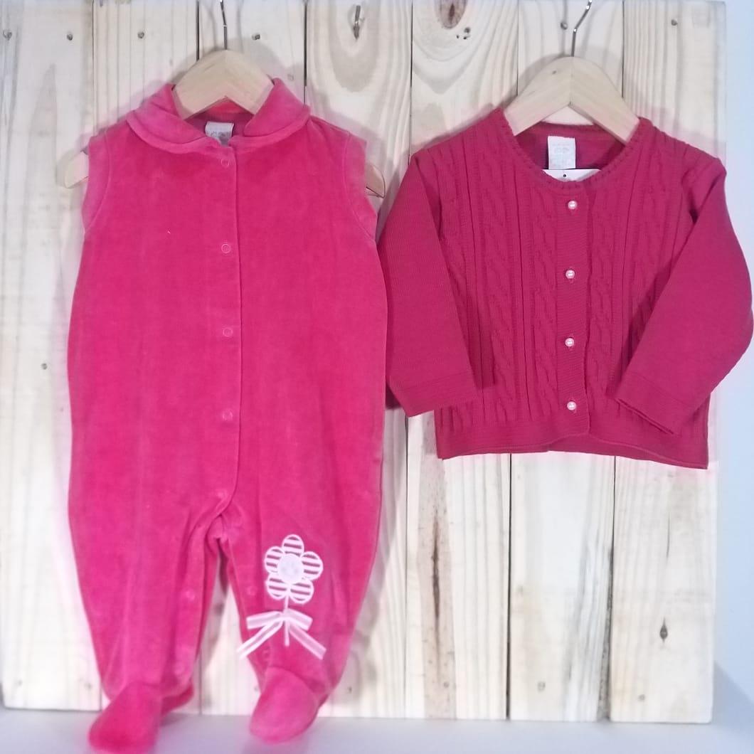 Jardineira Plush e Casaco Tricot Para Bebê