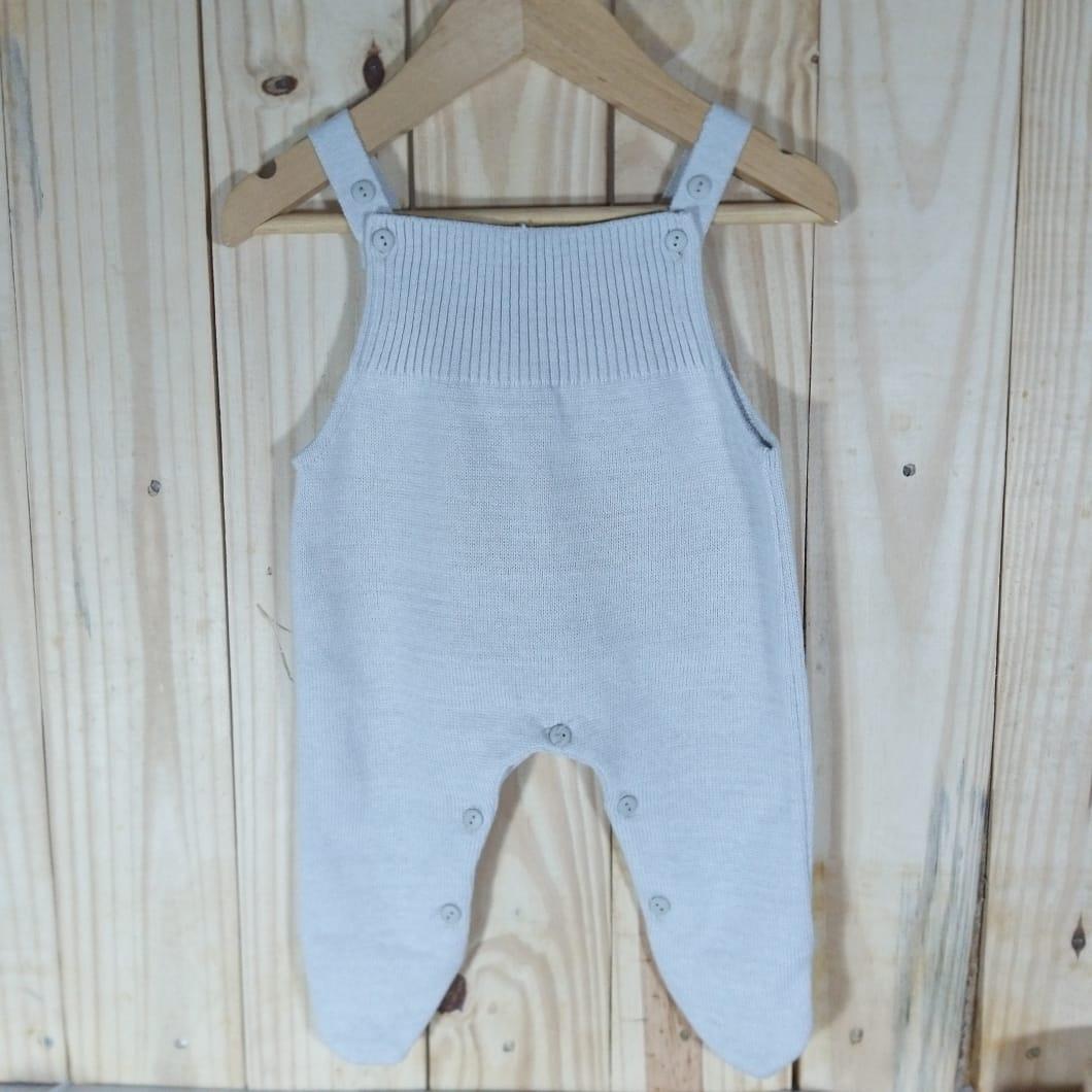 Jardineira para Bebê Toreiro em Tricot Prata