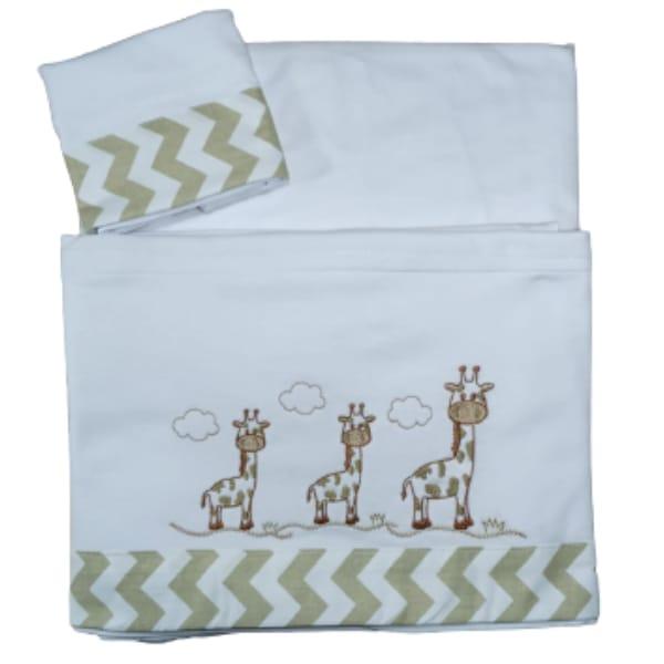 Jogo de Lençol para Bebê com Três Peças Girafa em Malha 100% Algodão