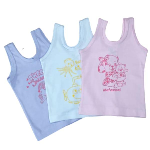 KIT 3 Camiseta em Malha para Bebê Regata 100% Algodão