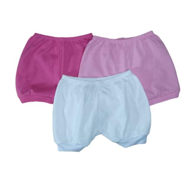 KIT 3 Shorts em Malha para Bebê Regata 100% Algodão