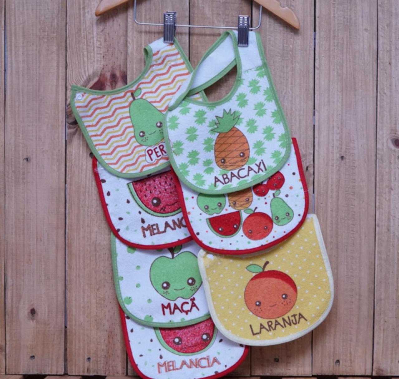 Kit Babador para Bebê com 7 Peças Salada de Frutas