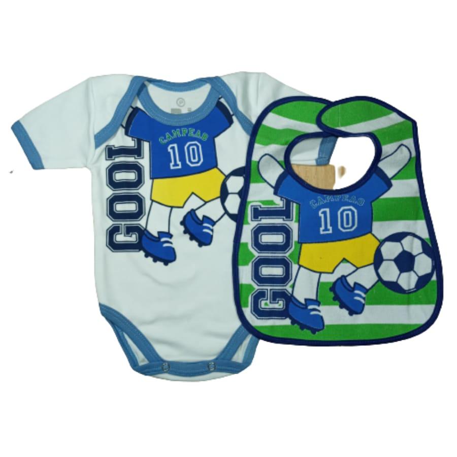 Kit Body Manga Curta + Babador para Bebê Futebol