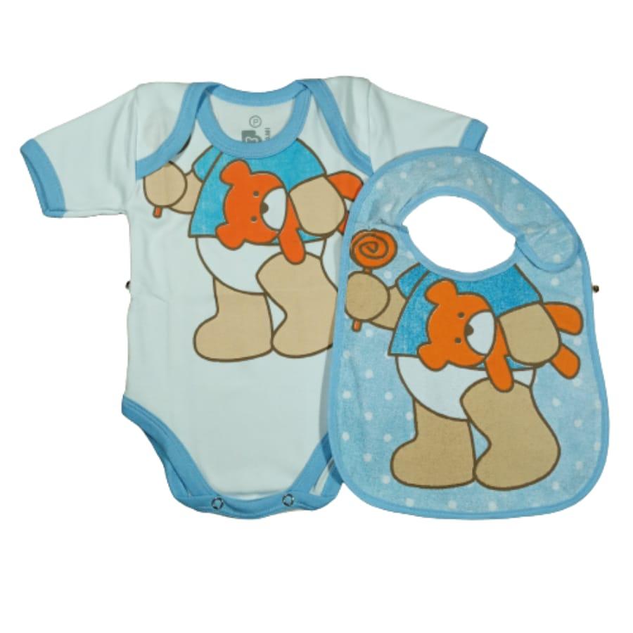 Kit Body Manga Curta + Babador para Bebê Urso