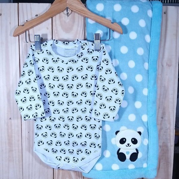 KIt Body Panda Estampado com a Manta Fleece Panda
