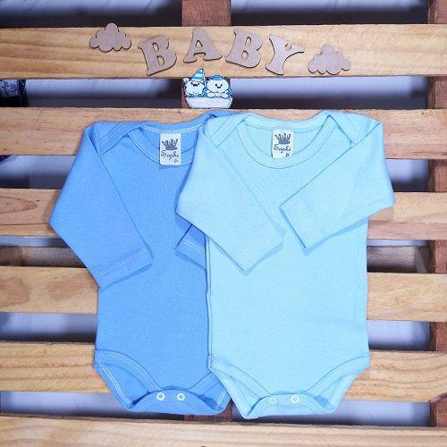 kit de Body para Bebê Manga Longa Azul e Off White