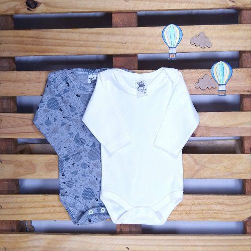 kit de Body para Bebê Manga Longa Balão