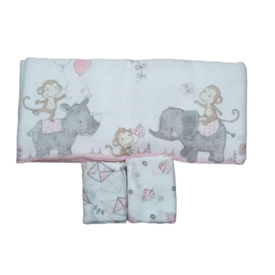 Kit Fralda para Bebê Estampado Zoo Rosa