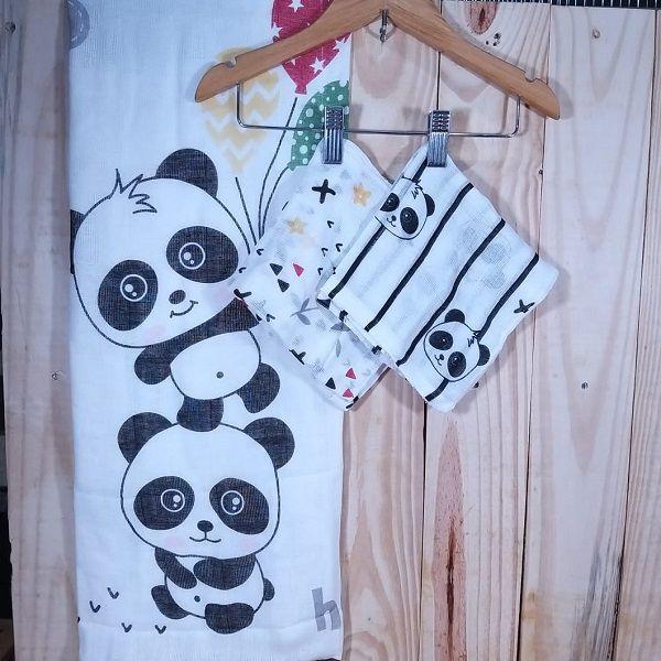 Kit Fraldas Estampada Panda 3 pçs