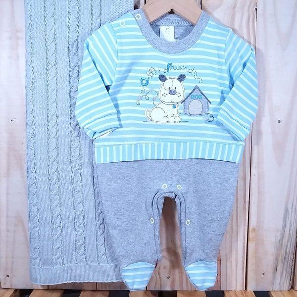KIt Macacão Listrado com a Manta de Tricô para Bebê