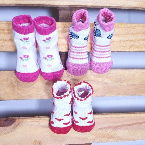 Kit Meia para Bebê com 3 pares de meias RN estampa