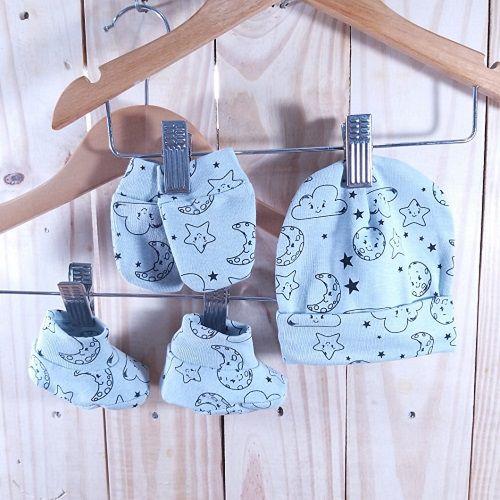 Kit para Bebê com Touca,Luva e Sapatinho  Lua e Estrela Minimalista