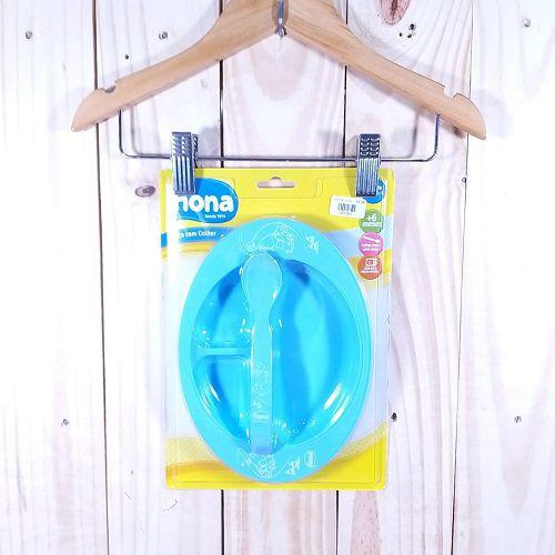 Kit para Bebê Prato com  Colher -Azul