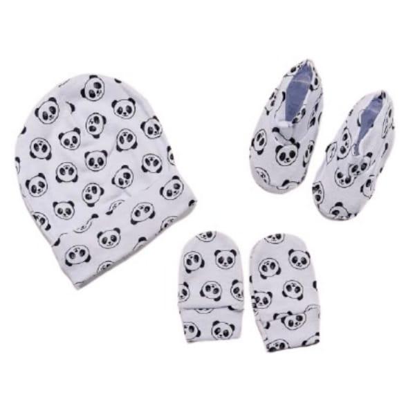 Kit para Bebê Touca Luva e Sapatinho Minimalista Panda Branco