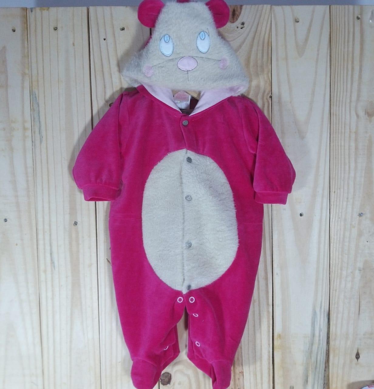 Macacão com Capuz  para Bebê Plush Cachorrinho Pink
