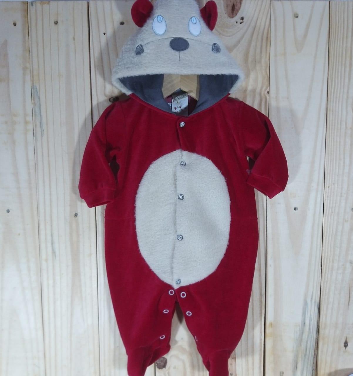 Macacão com Capuz  para Bebê Plush Cachorrinho Vermelho