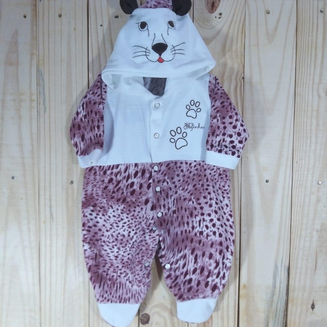 Macacão com Capuz  para Bebê Plush Coelho Pink