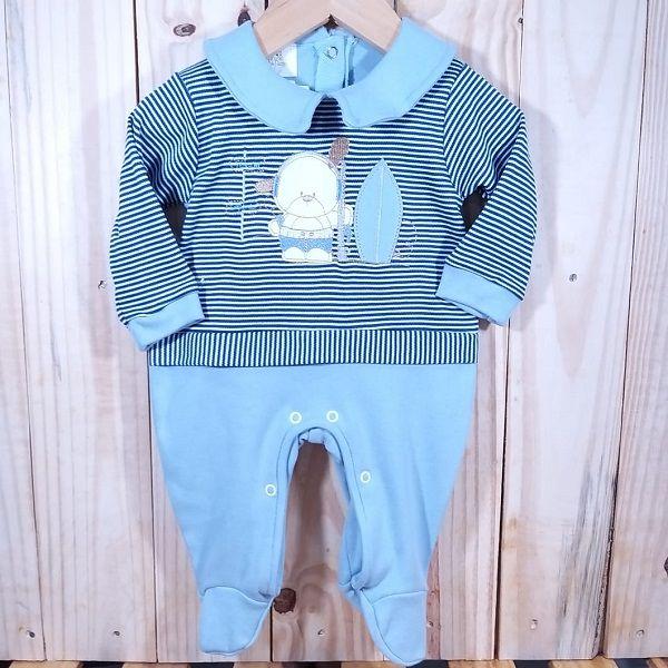 Macacão para Bebê Cachorrinho Surf Azul Marinho com Azul Claro