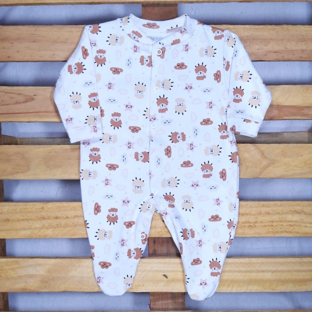 Macacão para Bebê com Pé Estampa Ovelhas e o verdinho Urso