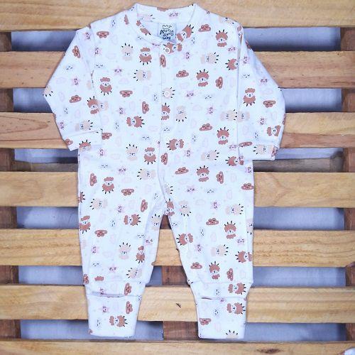 Macacão para Bebê em Malha Estampado Ovelhinhas com Pé Reversível.