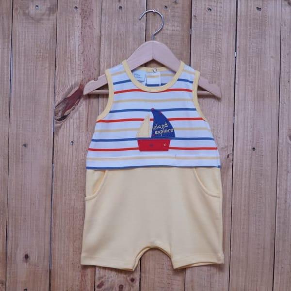Macacão para Bebê  Curto Veleiro  Amarelo