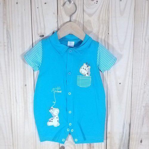 Macacão para Bebê Curto com Bordado Girafa Azul