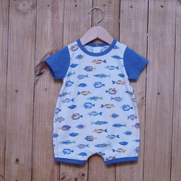 Macacão para Bebê Curto Peixes Blue Jeans