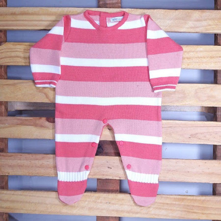 Macacão para Bebê em Tricot com Lista