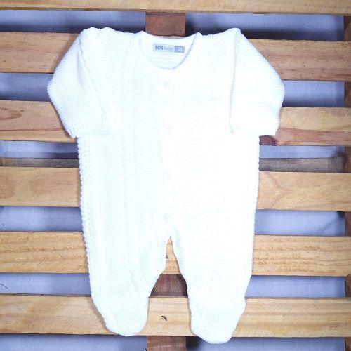 Macacão para Bebê em Tricot Trançado