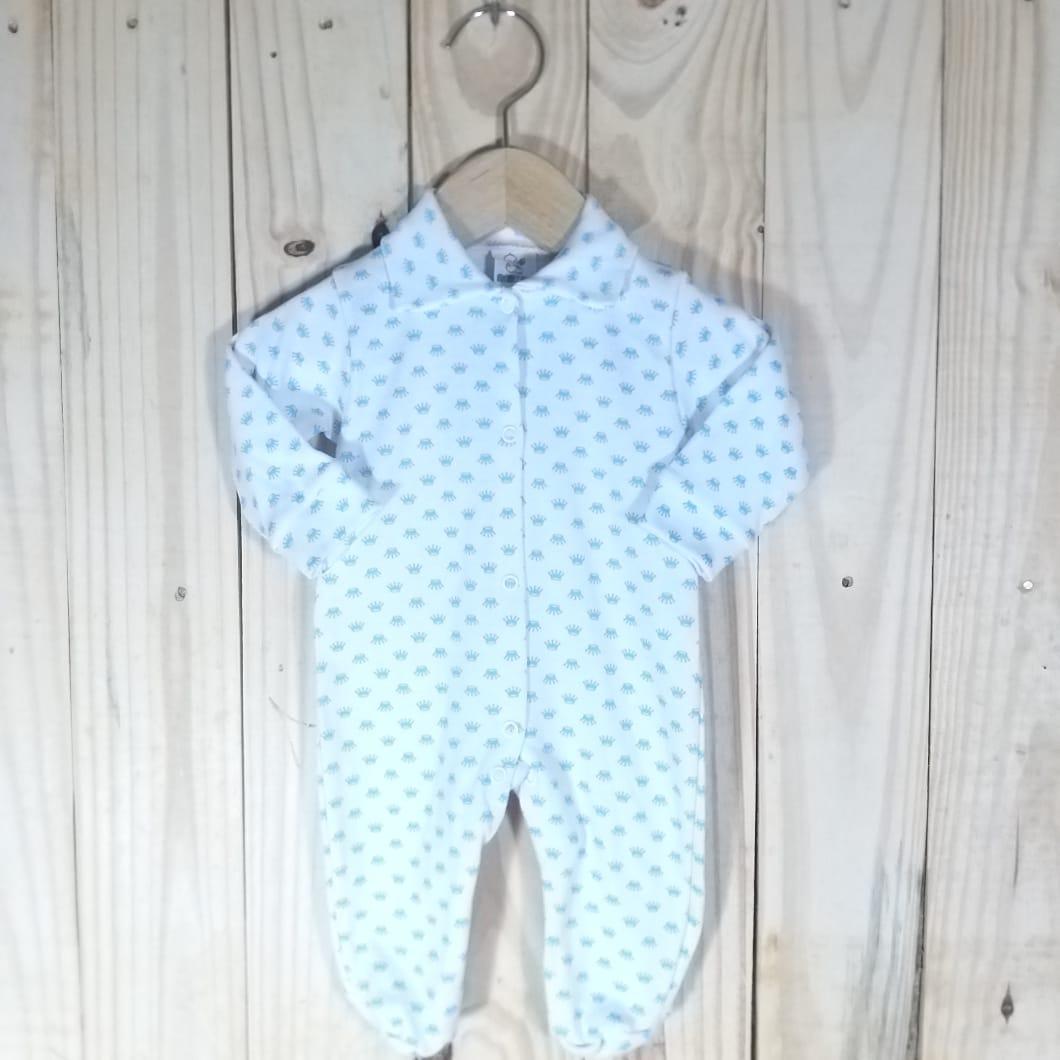 Macacão para Bebê Estampado Coroa Azul Claro