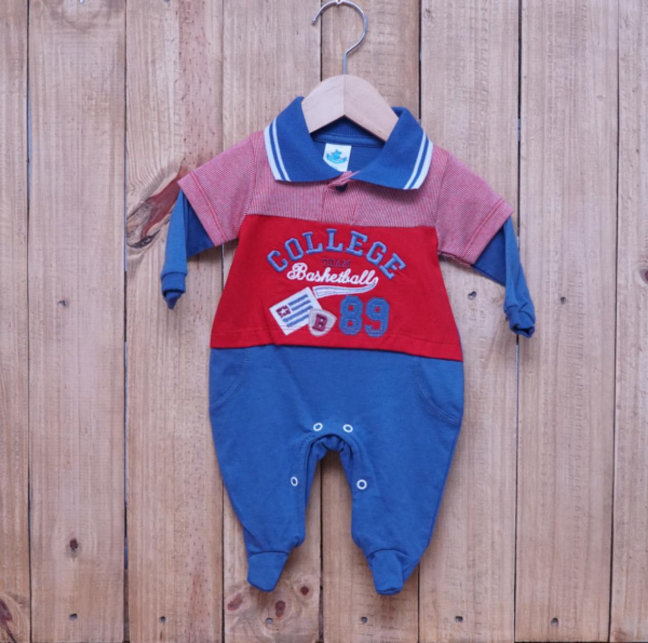 Macacão para Bebê Gola Polo Bordado Azul Jeans