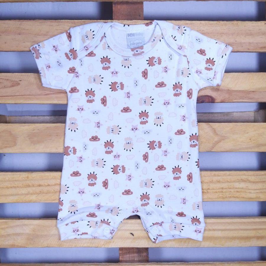 Macacão para Bebê Curto em Malha Estampado de Ovelhas