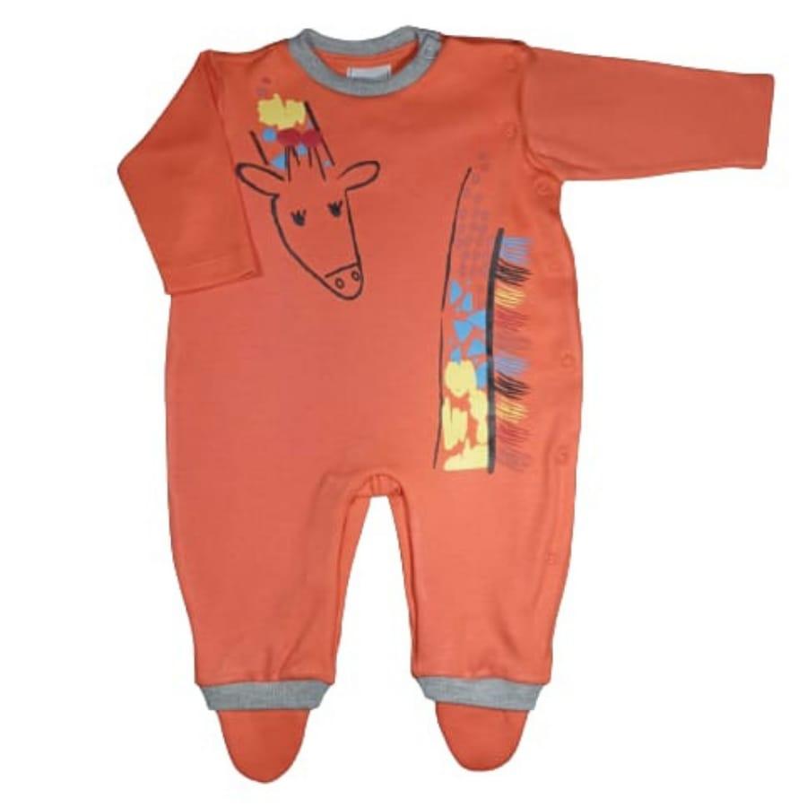 Macacão para Bebê Estampado Girafa Laranja