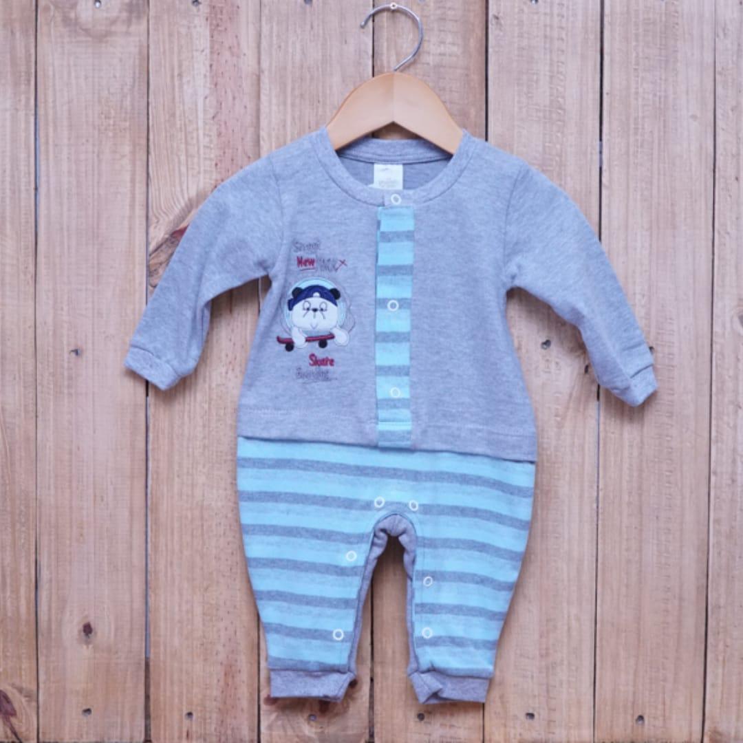 Macacão para Bebê Bordado Azul com Cinza