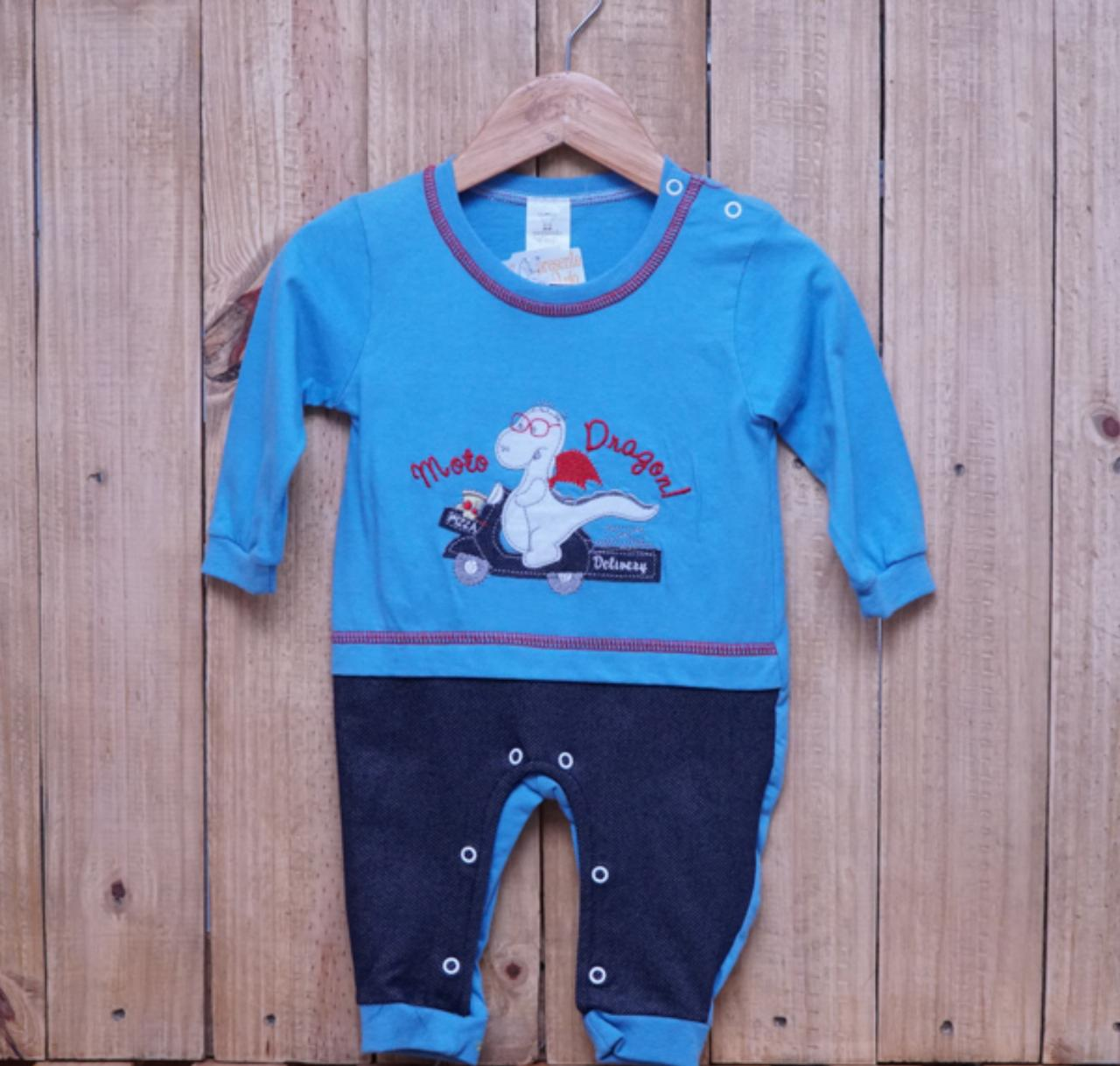 Macacão para Bebê Bordado Dragão Azul Escuro
