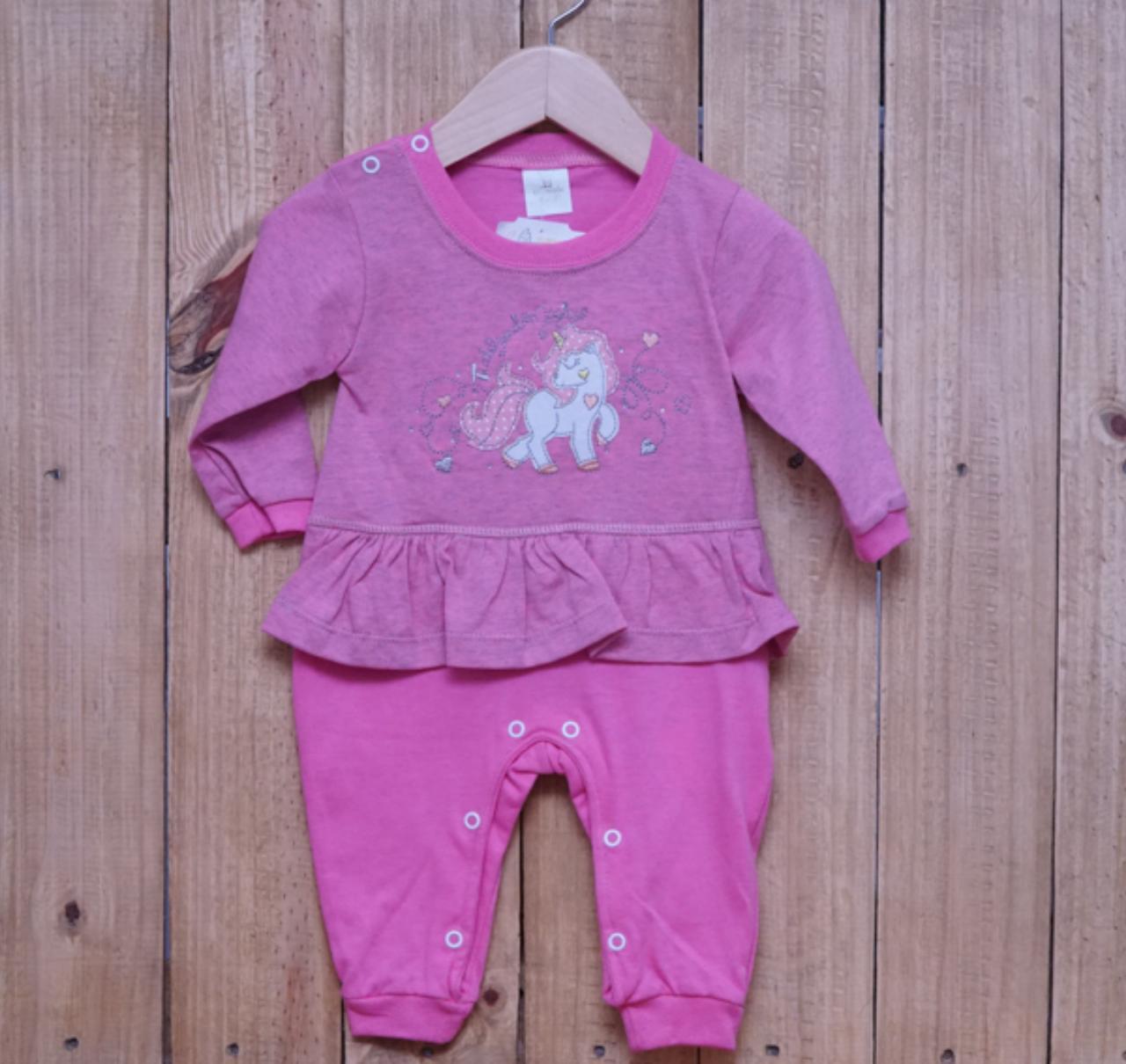 Macacão para Bebê Bordado com Detalhe em Strass Pink