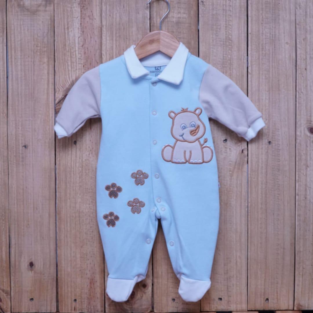 Macacão para Bebê Bordado com Gola Polo Azul com Detalhe  Bege