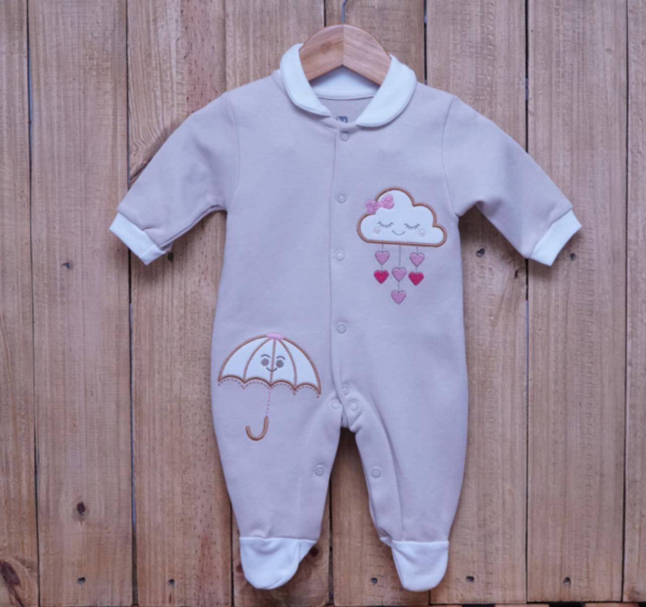 Macacão para Bebê Bordado com Gola Polo Bege com Detalhe Off White