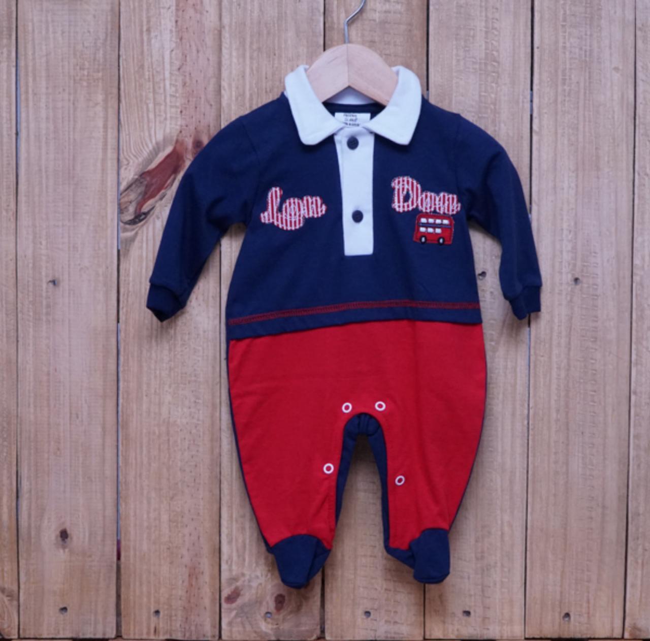Macacão para Bebê Bordado com Gola Polo  Marinho com Vermelho