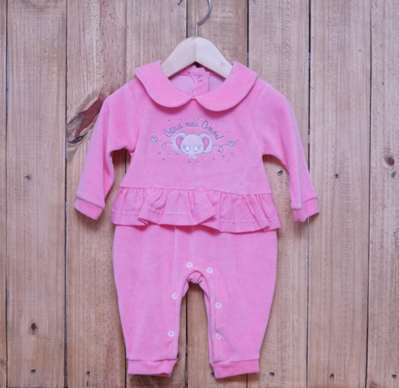 Macacão para Bebê Bordado com Straas Rosa