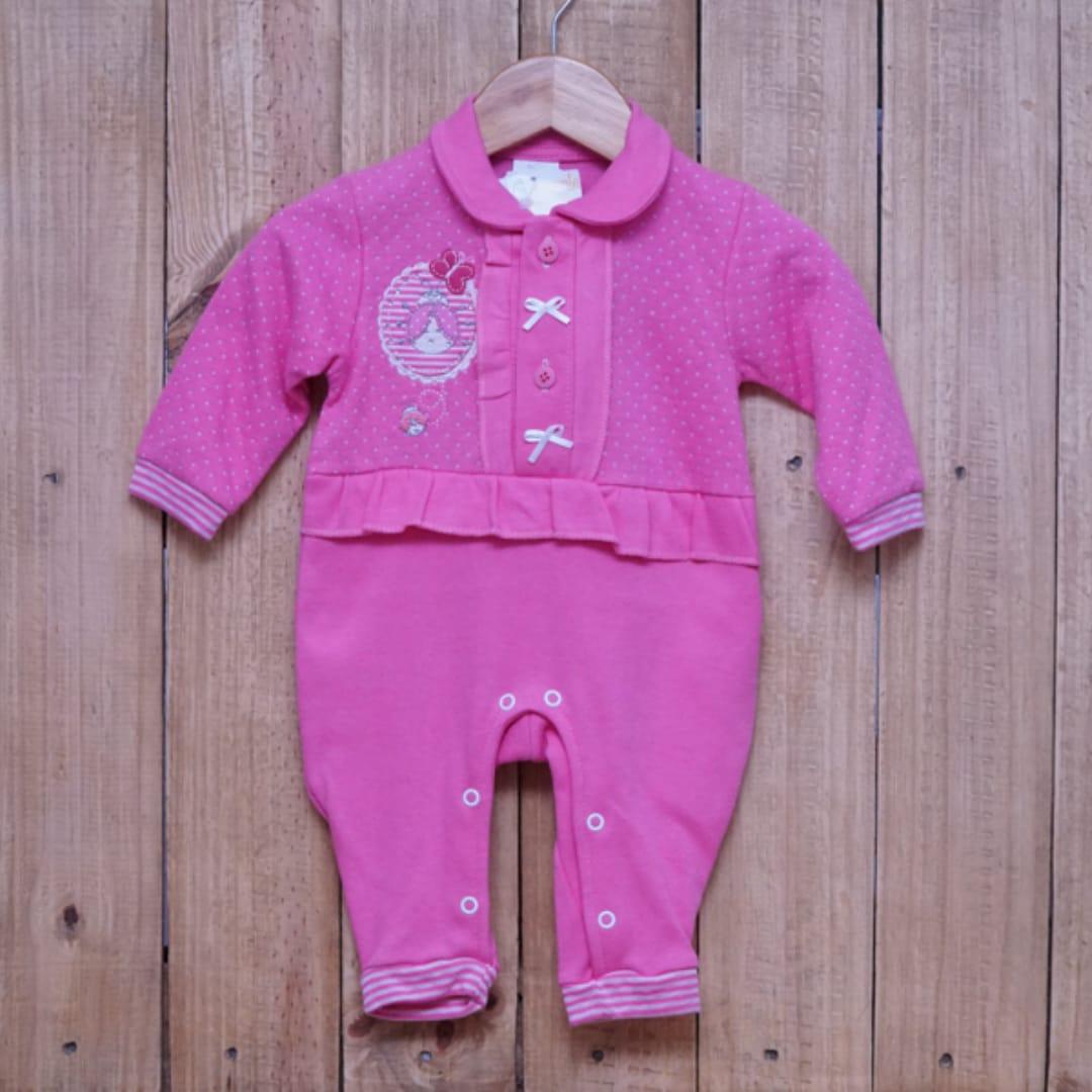 Macacão para Bebê Bordado Bonequinha com Strass Rosa Escuro