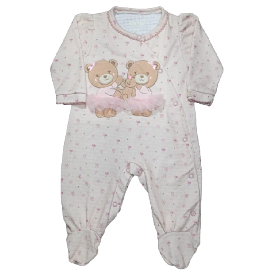 Macacão para Bebê Bordado Duas Ursinhas