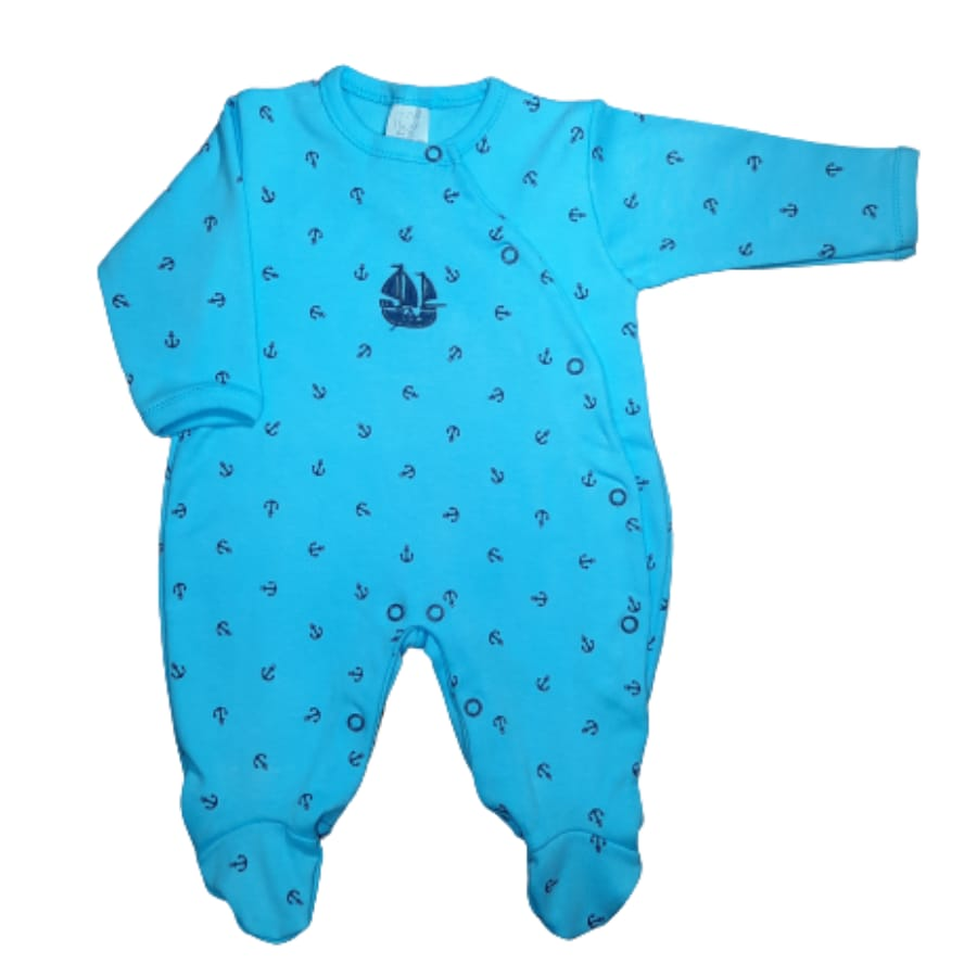 Macacão para Bebê Bordado é Estampado Âncora